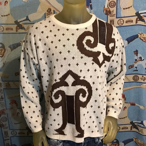 Vintage Other - Vintage Mark Elliot Sweater With Leather Strips M
